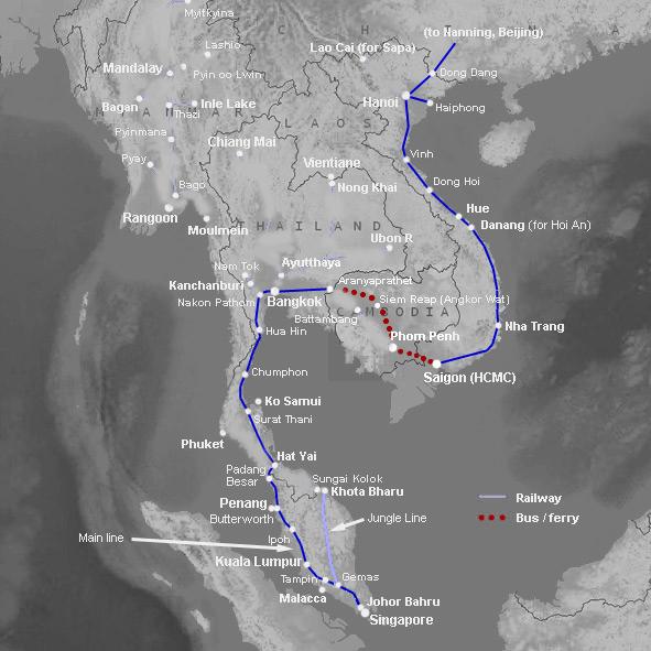 Our route through S.E. Asia
